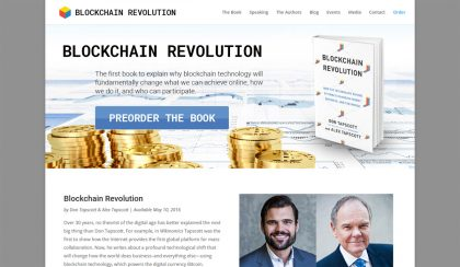 Screenshot of new Blockchain Revolution website