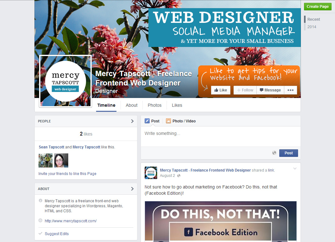 Mercy Tapscott Facebook page for social media and web design tips