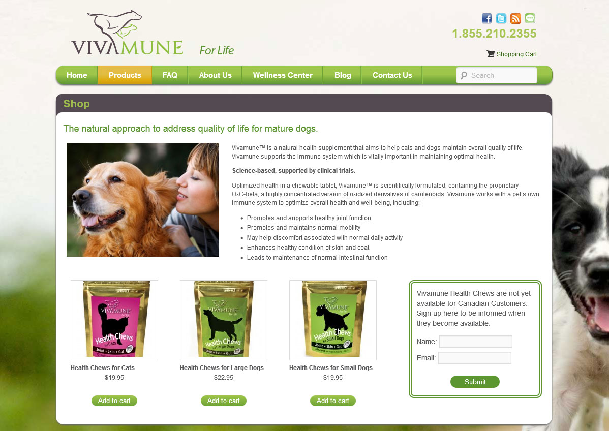 Vivamune Health offers chewable vitamins and nutrition supplements for pets