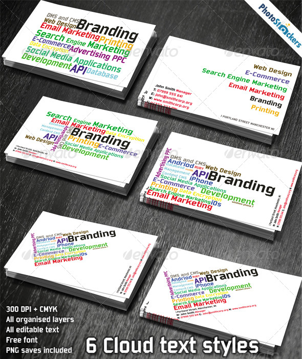 cloud word tag business card template for designers