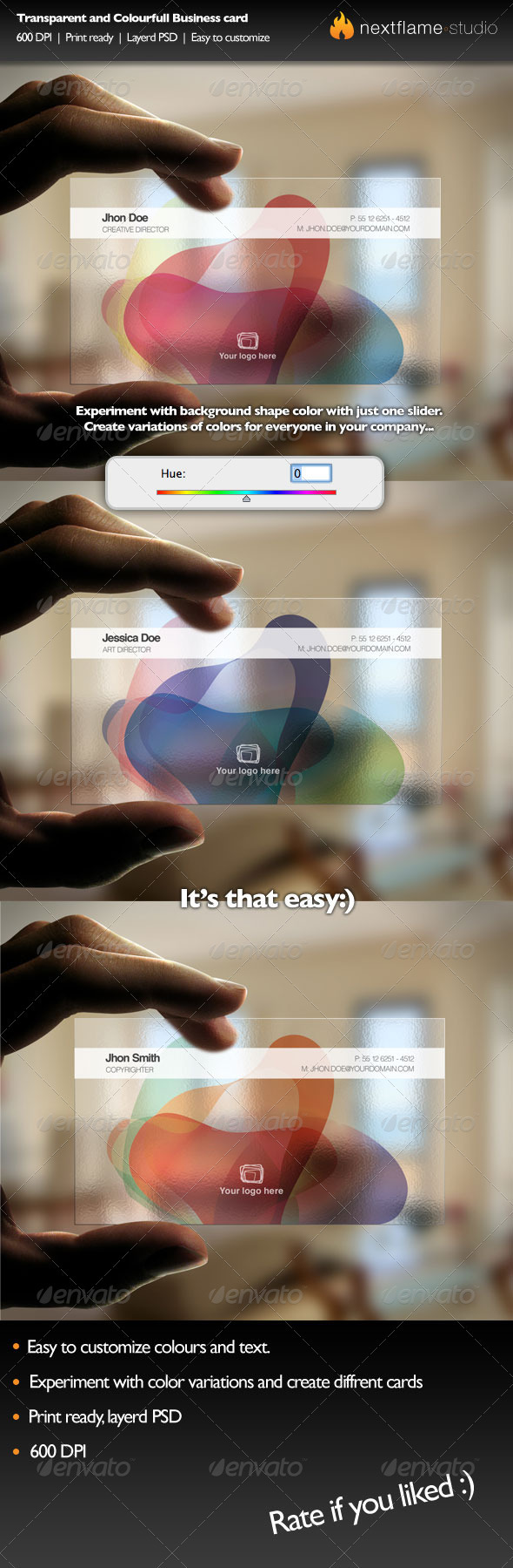transparent, colorful business card template