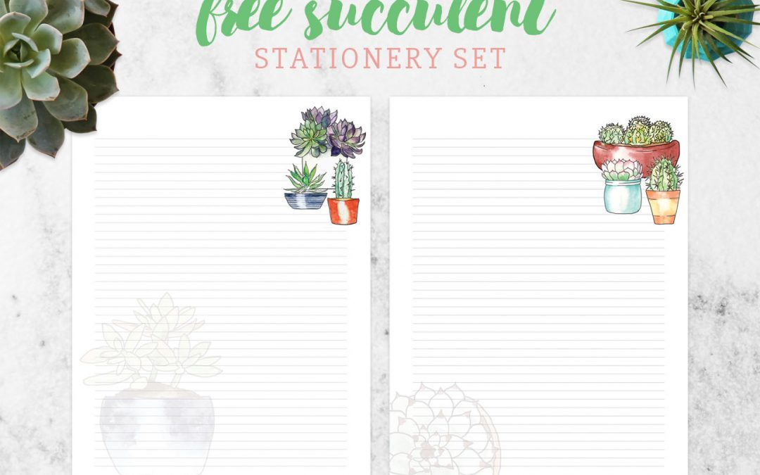 Free Succulent-Themed Stationery Set